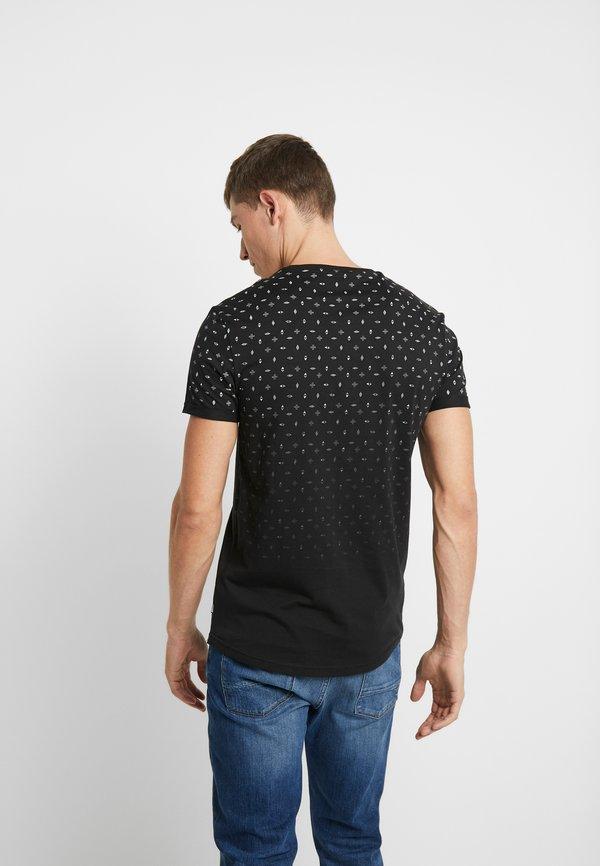Pier One T-shirt z nadrukiem - black/czarny Odzież Męska NCCV