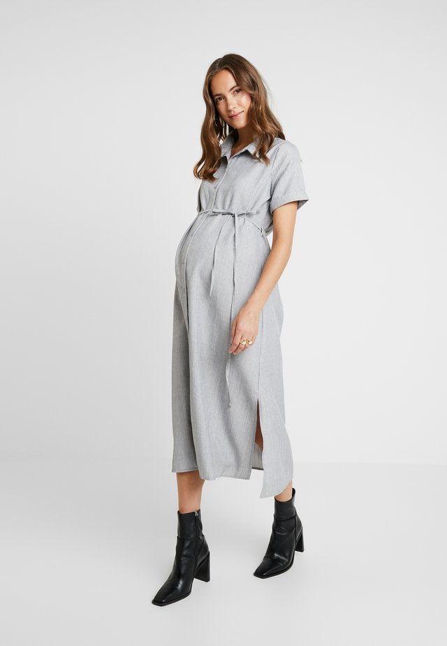 SHORT SLEEVE MIDI DRESS WITH BELT - Skjortekjole - grey