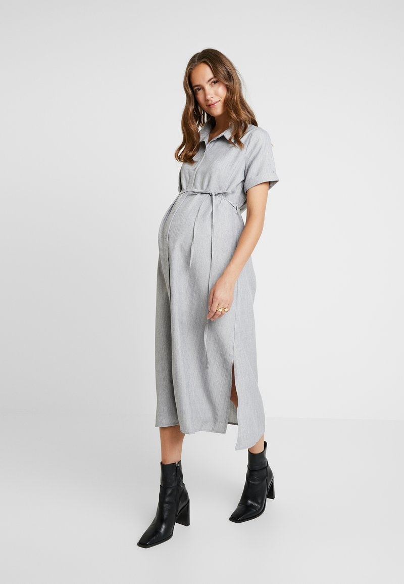 Glamorous Bloom - SHORT SLEEVE MIDI DRESS WITH BELT - Shirt dress - grey