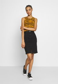 Pieces - Pencil skirt - black denim - 1