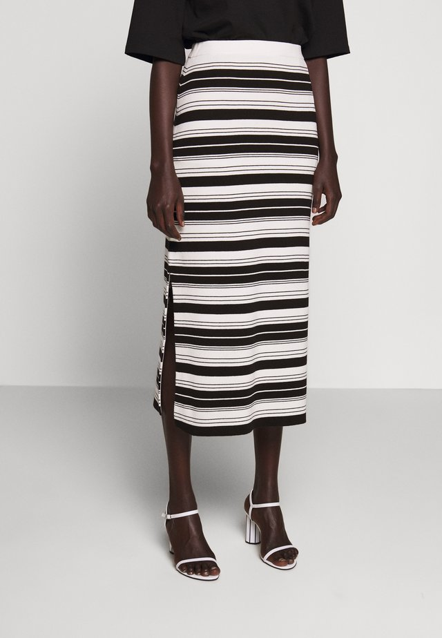 COMPACT STRIPE SKIRT - Kokerrok - black/off white