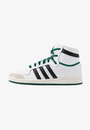 TOP TEN - Korkeavartiset tennarit - footwear white/core black/green