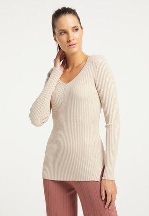 Pullover - silber beige