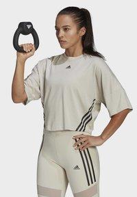 adidas Performance - CROPPED W PRIMEBLUE TRAINING T-SHIRT - Print T-shirt - grey - 0