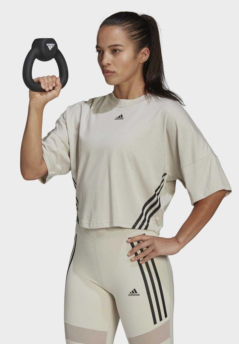 adidas Performance - CROPPED W PRIMEBLUE TRAINING T-SHIRT - Print T-shirt - grey