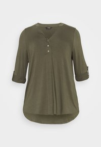 BUTTON - Long sleeved top - khaki