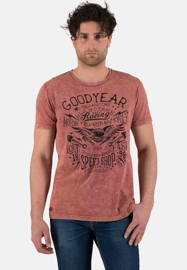 Print T-shirt - dirty raspberry