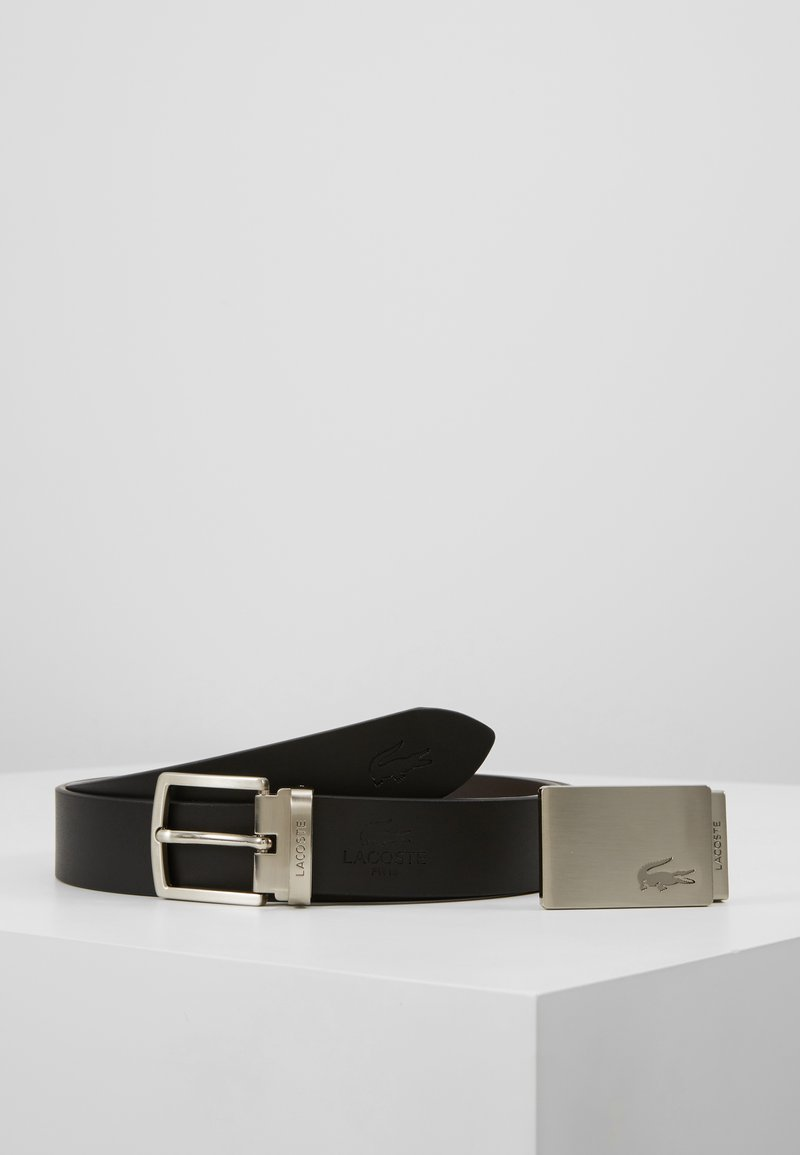 Lacoste - REVERSIBLE CURVED BOX - Belt - black/dark brown