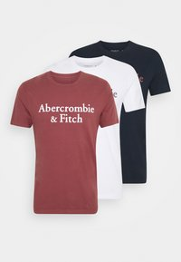 Abercrombie & Fitch - 3 PACK - T-shirt med print - white/navy/red - 6