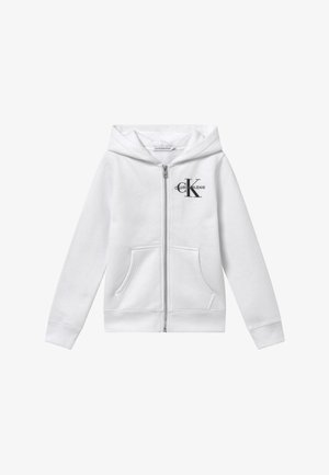 MONOGRAM CHEST ZIP HOODIE - Huvtröja med dragkedja - white