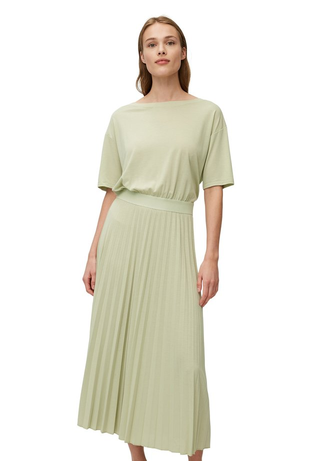 DRESS PLISSEE - Jerseyjurk - misty mint