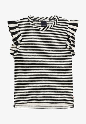 STRIPED TEE WITH RUFFLE SLEEVE - T-shirt med print - off white/black