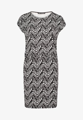 MIT STREIFEN - Jersey dress - schwarz/weiß