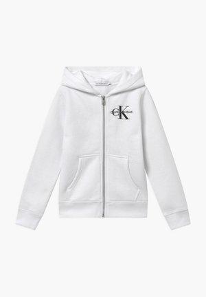 MONOGRAM CHEST ZIP HOODIE - Zip-up hoodie - white