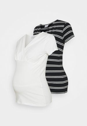 NURSING 2 PACK - Camiseta estampada - snow white/black