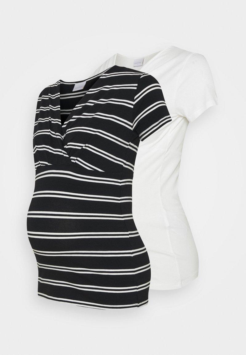 MAMALICIOUS - NURSING 2 PACK - T-shirt print - snow white/black