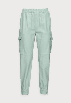 CARGO - Leather trousers - almond