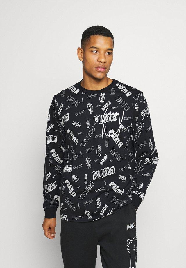 HOOPS TEE - Long sleeved top - black