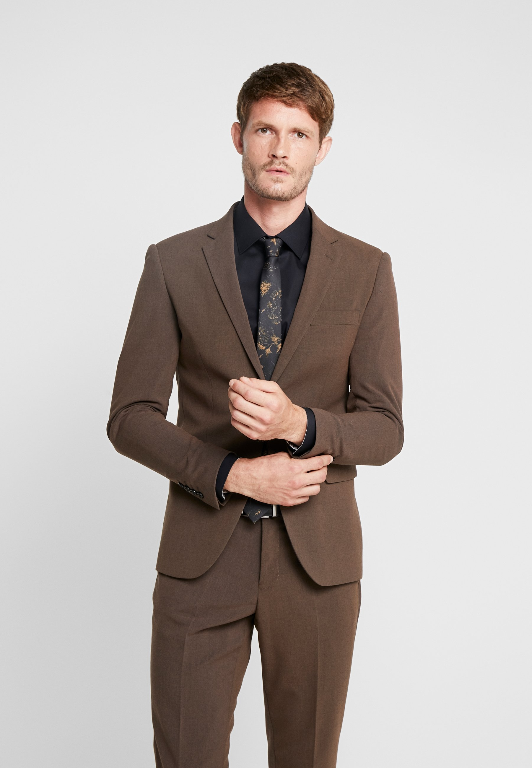 Lindbergh Plain Mens Suit - Dress Brown Melange/brun