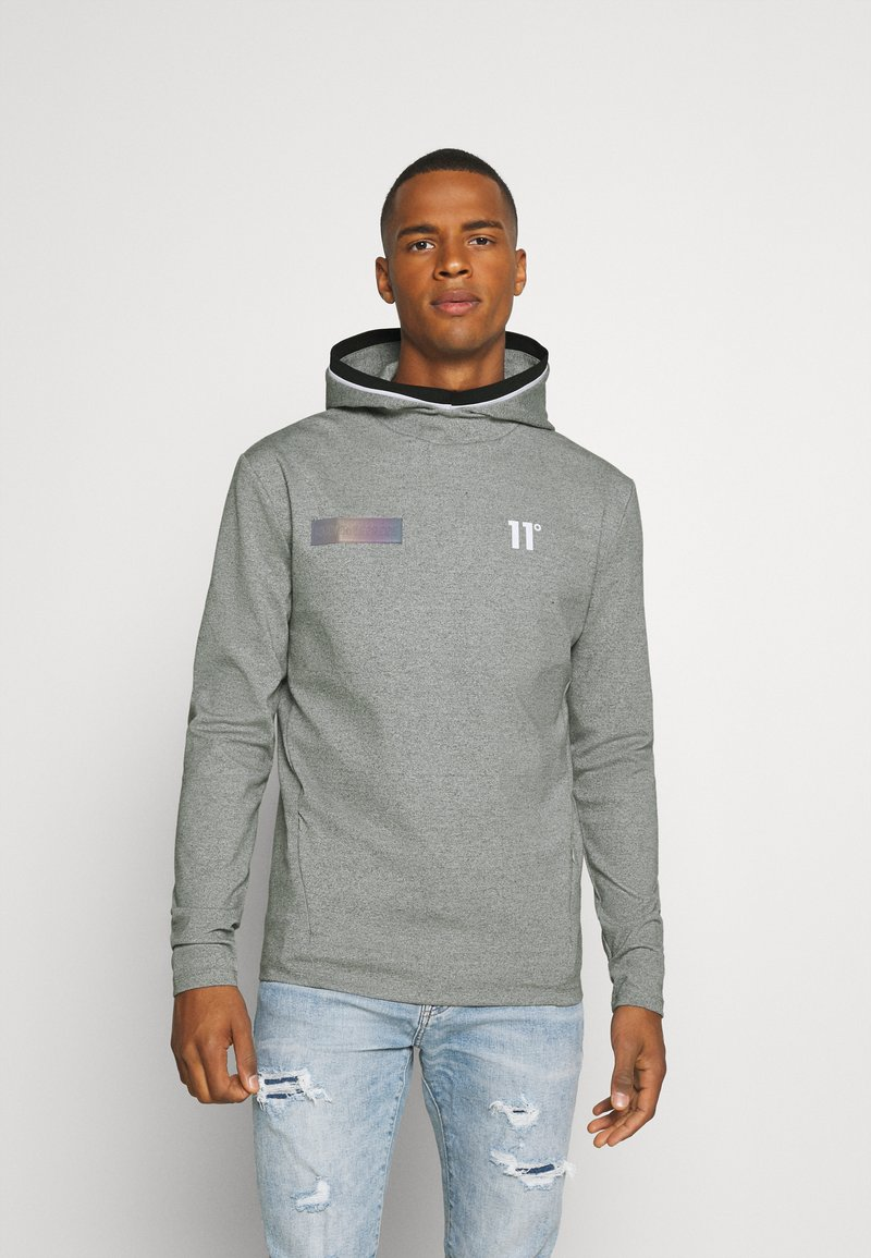 11 DEGREES - BLOCK HOODIE - Hoodie - grey marl