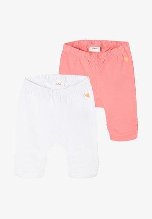 2 PACK - Leggings - Trousers - white/pink