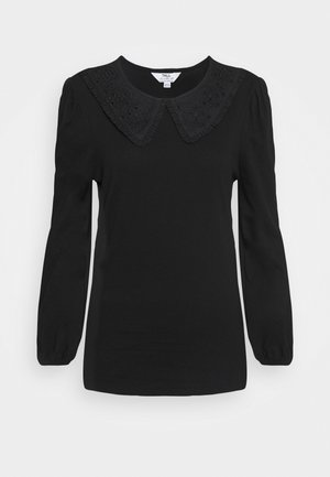 EMBROIDERED COLLAR TOP - Blůza - black