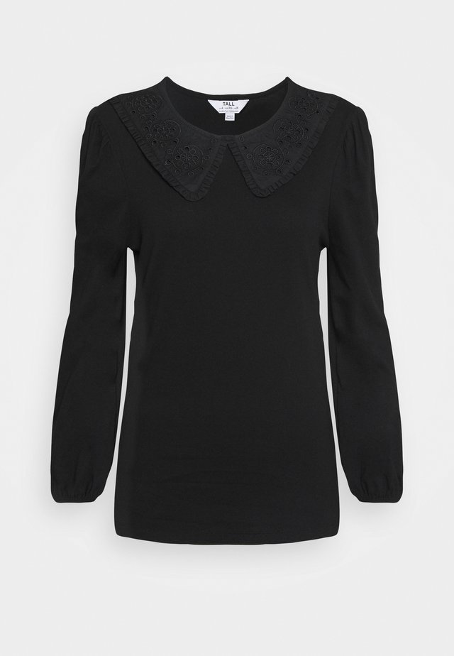 EMBROIDERED COLLAR TOP - Blouse - black