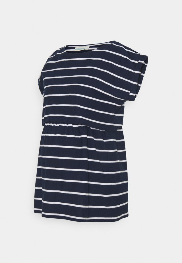 MATERNITY & NURSING DOUBLE LAYER - T-shirt med print - navy/white