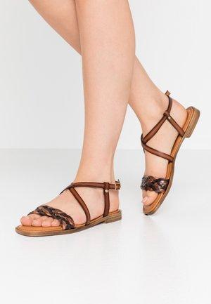 Sandaalit nilkkaremmillä - cognac/cafe