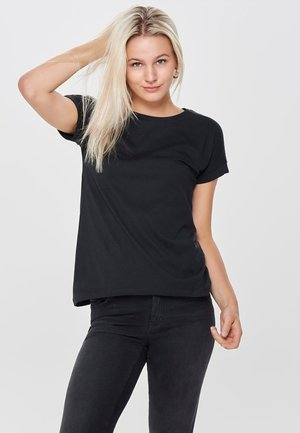 JDYLOUISA LIFEFOLD UP TOP - Jednoduché triko - black