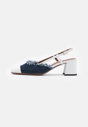 SLINGBACK - Classic heels - white/jeans