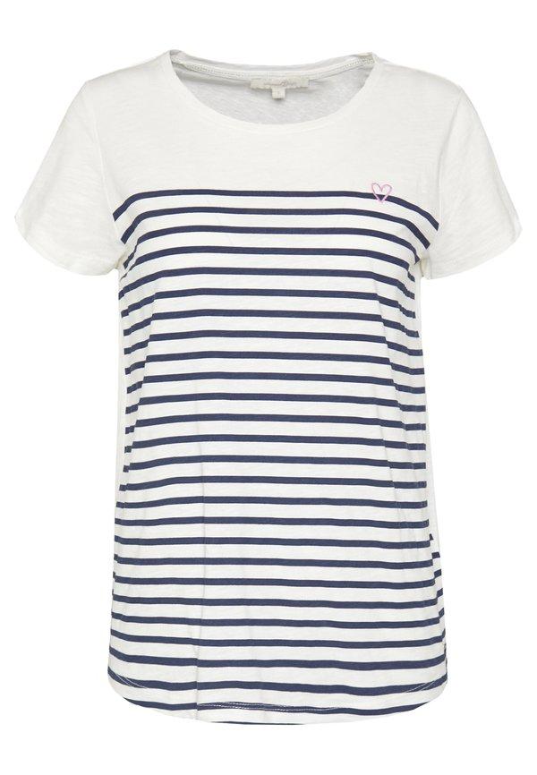 TOM TAILOR DENIM SLUB TEE - T-shirt z nadrukiem - navy/white W paski Odzież Damska FVWV JH 3