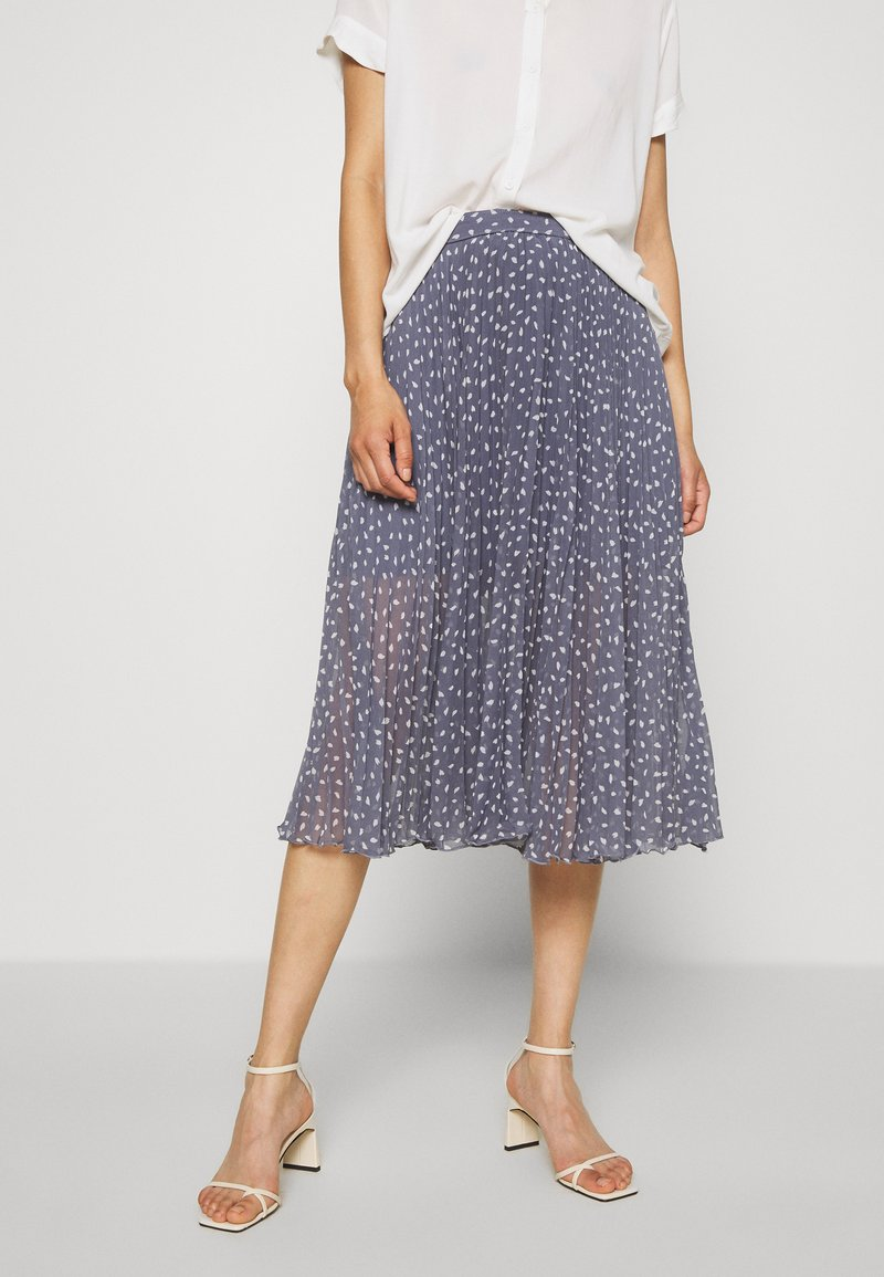 Abercrombie & Fitch - PLEATED MIDI - A-line skirt - blue