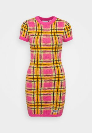 CHECK EYELASH MINI DRESS - Pouzdrové šaty - pink