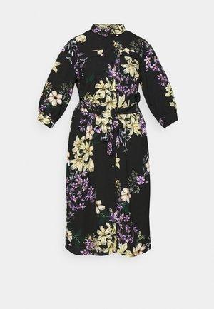 CARNOVA LONG SHIRT DRESS - Day dress - black/dark botanic