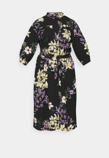 CARNOVA LONG SHIRT DRESS - Kjole - black/dark botanic