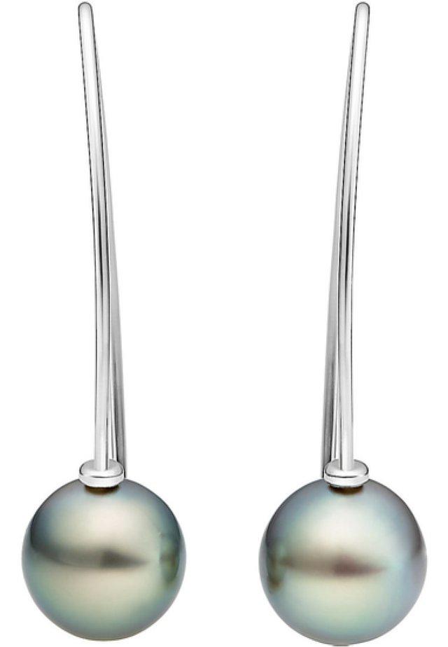 CHRIST PEARLS DAMEN-OHRHÄNGER 925ER SILBER 2 TAHITI - Earrings - silber