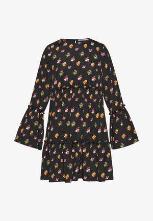 FLOUNCED DRESS - Vestito estivo - black/orange