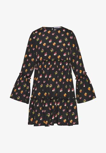 FLOUNCED DRESS - Kjole - black/orange
