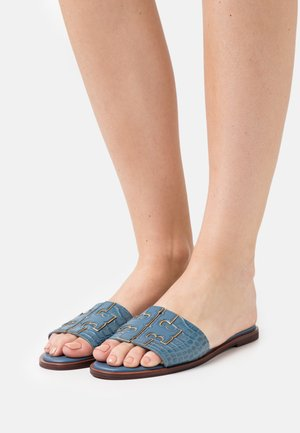 INES SLIDE - Pantofle - denim blue/gold