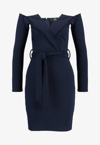 Missguided - BELTED BARDOT FOLDOVER MINI DRESS - Shift dress - navy - 4