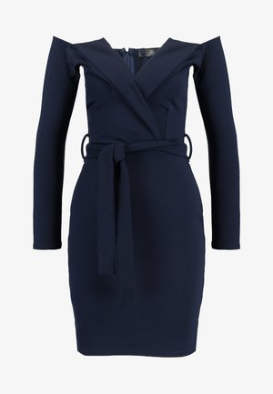 BELTED BARDOT FOLDOVER MINI DRESS - Shift dress - navy