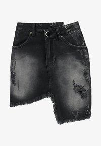 WRAPPED - Denimová sukně - thunder black