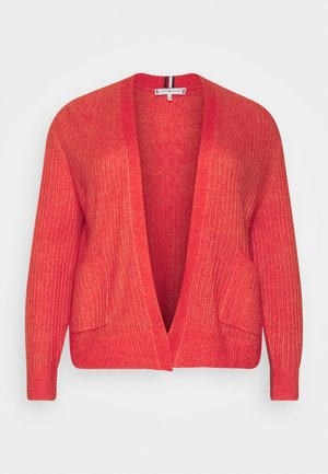 TEXTURED STITCH OPEN CARDI - Chaqueta de punto - oxidized orange