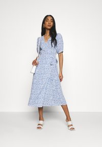 Glamorous - WRAP AROUND MIDI DRESS WITH TIE DETAIL AND SLEEVES - Day dress - blue - 1