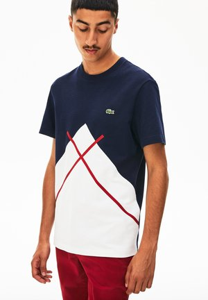Print T-shirt - white/navy blue/burgunder
