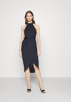 HIGH NECK PLEAT DRESS - Cocktail dress / Party dress - navy