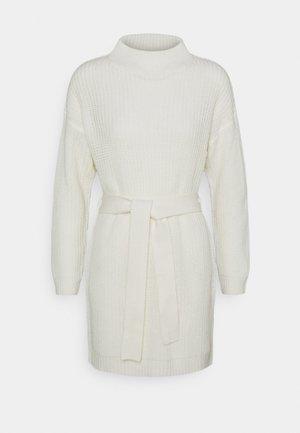 HIGH NECK BASIC DRESS WITH BELT - Robe pull - offwhite