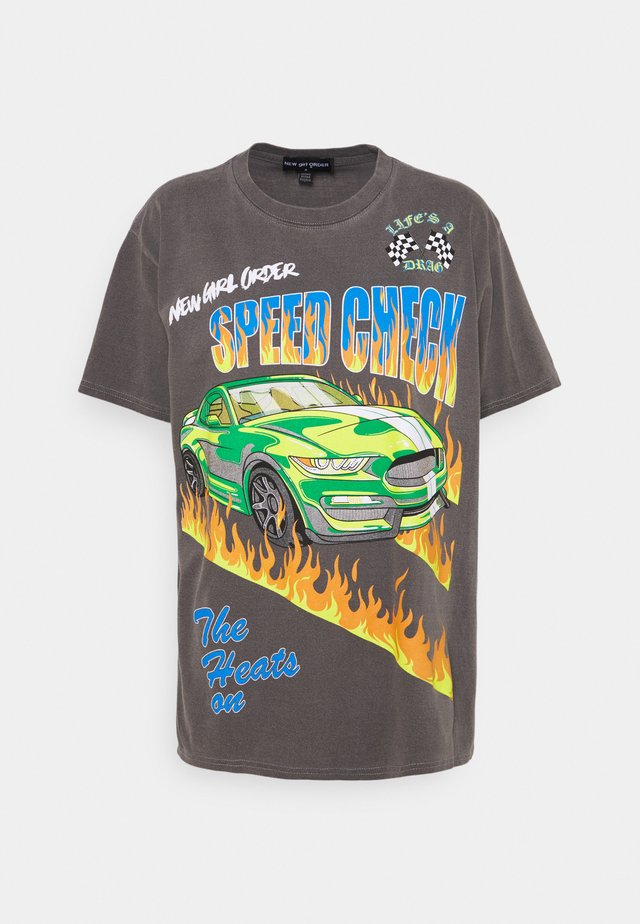 SPEED CHECK TEE - T-shirts med print - charcoal