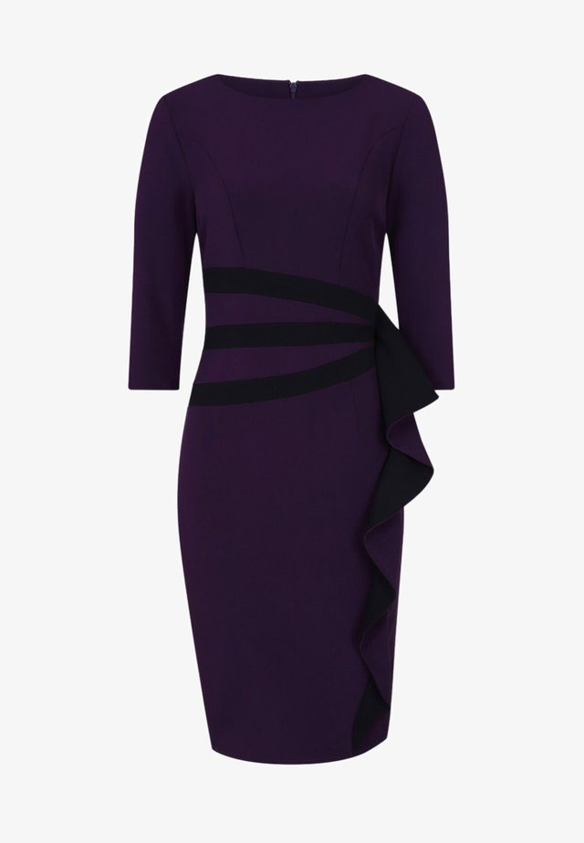CONTRAST SIDE FRILL - Kotelomekko - dark purple